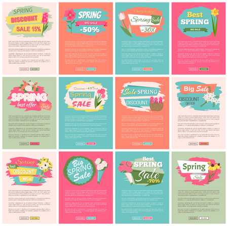 Sale, discount and best offer, label for springtime promotion and advertising, daisy bouquet. Advertisement decorated by flowers, greeting for ladies vector. Website with links buy and read now Vector Illustratie