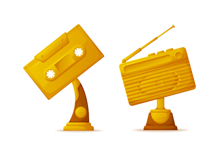 Melody tape and radio vector, gold awards for winners. Reward of best station and song, musical contest, music challenge and prize for achievements