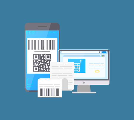 Bar code on mobile phone and laptop monitor screen vector. Devices with qr and receipt bill with info about purchase, shopping cart trolley on computer