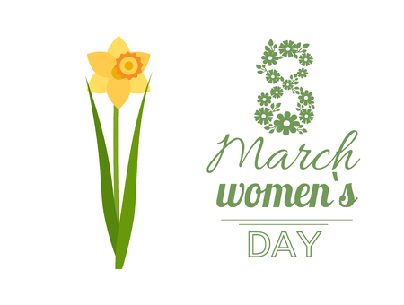 Womens international day, greeting card decorated by flowers, 8 March lettering. Yellow daffodil, spring holiday for ladies vector postcard with blossom
