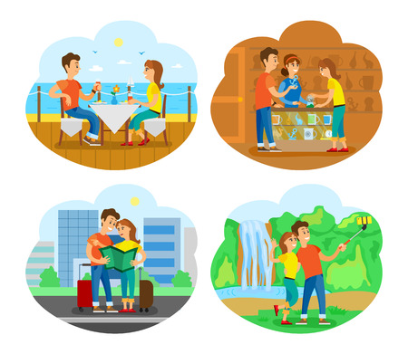 People eating by seaside in luxury restaurant vector. Souvenir shop couple buying toys, man and woman looking at map finding way, waterfall selfie