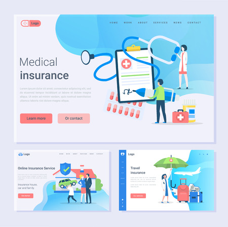 Medical and travel insurance and online service, safety set vector. House, car and family safe, doctor with contract of clipboard, paper with contract. Website or webpage template, landing page flat s