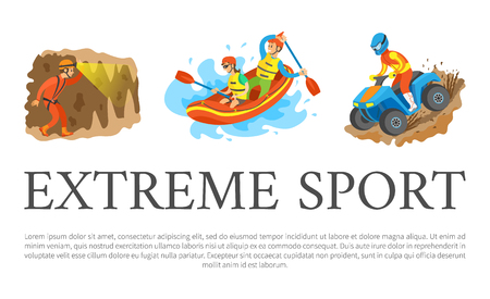 Extreme sport vector, rafting team sitting in boat man and woman, speleotourism male walking in cave with flashlight. Quad biking hobby of person