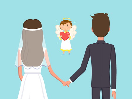 Angelic child boy with heart vector, man and woman holding hands flat style. Marriage of bride and groom, fiance husband and wife in love with each other Çizim