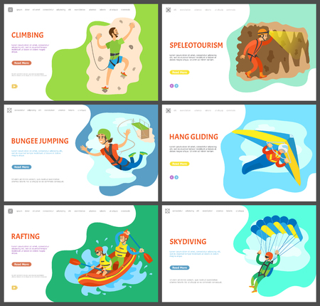 Skydiving and speleotourism vector, activities of people, summer rafting and wall climbing, bungee jumping woman and hang gliding, paragliding set. Website or webpage template, landing page flat style