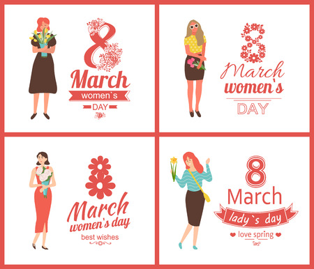 Ladies celebrating international holiday vector, womens day females with flowers. Tulips and roses in paper wrapping, blossom and leaves of spring. 8 March set 일러스트
