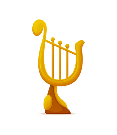 Golden lira award, vertical prize with strings. Musical old-fashioned instrument, vertically 3D trophy on white, symbol of classical melody vector