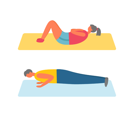 People pumping muscles on mat, performing exercises on floor, side view of people in sportwear, strong girl and boy exercising, sporty lifestyle vector Illustration