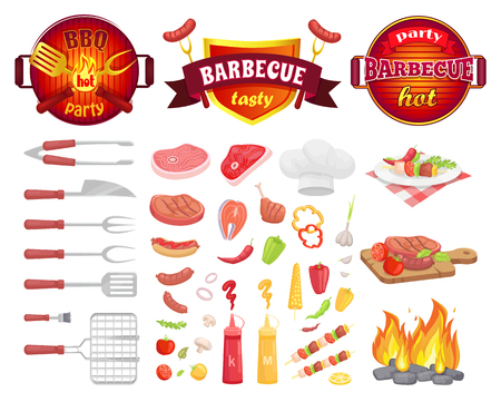 BBQ party dishware and fresh vegetables isolated icons vector. Frying pan with flame utensils, flatware with meat. Beef and pork, salmon and hot dog Illustration