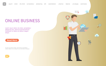 Online business web poster, man working worldwide using modern technologies. Message and cloud storage, folder and magnifier, percent sign and charts