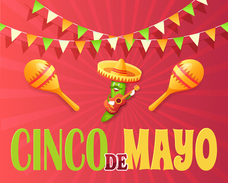 Cinco de mayo poster vector, Mexican holiday celebration, cucumber character with moustache. Maracas and acoustic guitar performance of vegetable flat style