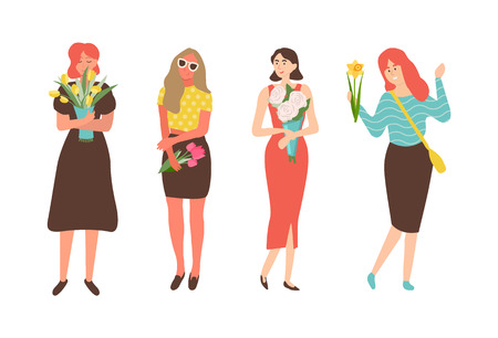 Females with flowers isolated cartoon characters. Vector women celebration international holiday for girls, 8 March concept. People with bouquets Standard-Bild - 120091919