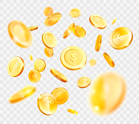 Gold coins vector, money falling down, American currency isolated on transparent background, finances and assets, wealth and richness, big capital Ilustrace