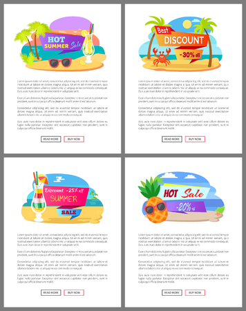 Summer discounts for special clients vector, web pages with info. Palm trees, coast and water of sea, cocktail and lemonade in glass, pineapple set 일러스트