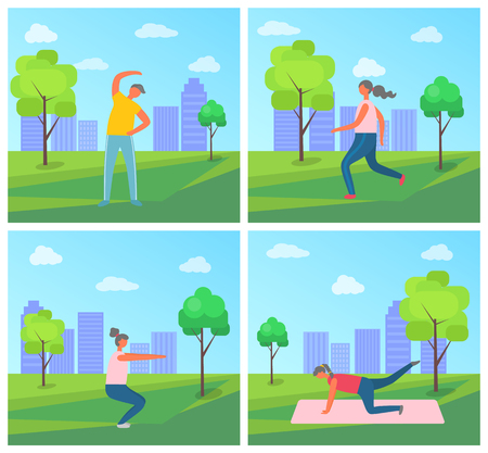 Fitness exercises vector, woman and man in green park. Plank and squats, jogging female wearing sportswear. City greenery with skyscrapers and people Çizim