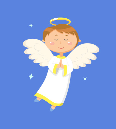 Child holding hands together vector, angel praying for peace. Angelic boy with wings and halo closed eyes. Kid wearing long costume, calm character 向量圖像