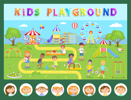 Children and outdoor activity, kids playground vector. Merry-go-round and swing, ferris wheel and slide, sandbox and boy playing football, girl with toy Banque d'images - 124097417