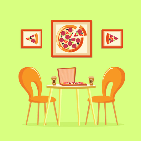 Restaurant table with pizza pictures decoration on wall vector. Box with Italian pizzeria, slices of prepared meal with tomatoes salami cheese ingredients