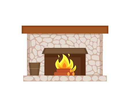 Fireplace of home interior item isolated icon vector. Stone construction, bucket with poles and wooden material, firewood and flames burning heat