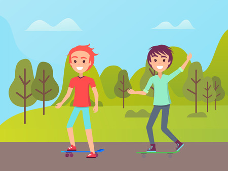 Friends skating in park, smiling boy rising hand, people in casual clothes going near green trees and hills, portrait view of skaters outdoor vector