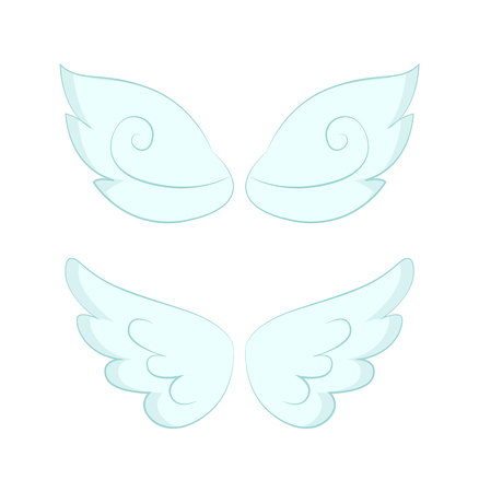Valentines day or Christmas decor, angel wings of white feather vector. Flight and cupid or butterfly accessory, holy spirit, fantastic or mythical creature detail Imagens - 124097424