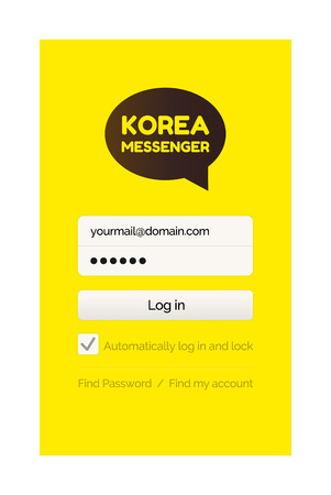Korean messenger with filling form vector, yellow start page. Mobile social network for global communication, kakao talk chatting in internet online