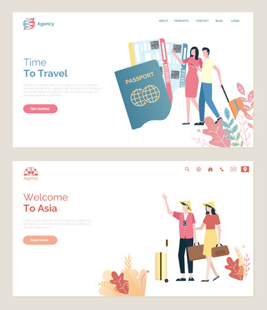 Time to travel, man and woman on vacation passport and tickets to flight. Foliage and leaves, people with baggage walking, couple in Chinese hats. Website or webpage template, landing page flat style
