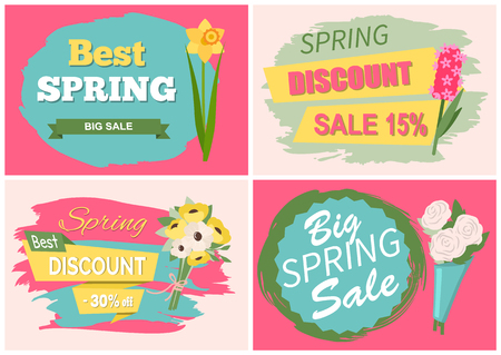 Sale, discount and best offer, label with rose, lilac and violet, daisy bouquet. Advertisement decorated by flowers, greeting for ladies vector. Early spring and summer flower for wedding
