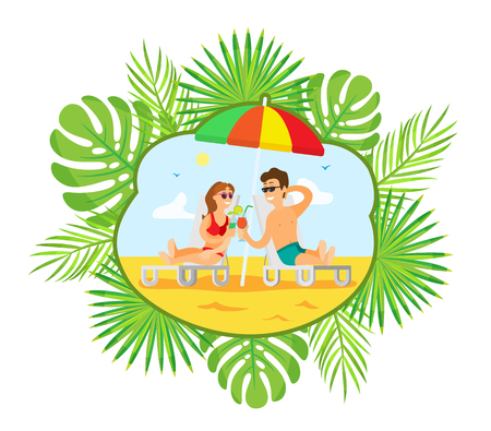 Summer vacation vector, people with cocktails relaxing on beach. Summertime resort, man and woman by coast laying on chaise longue, umbrella shade
