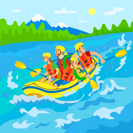 Wild nature, travelers in boat, river rafting vector. Mountain and forest, men and women in helmets and life vests with oars, extreme traveling or sport
