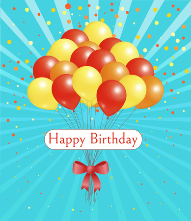 Happy birthday vector, card with balloons of red and yellow color tied with bow ribbon. Congratulations with special day of birth, confetti decoration