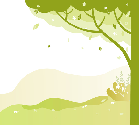 Trees with trunks and branches vector, park in summer and spring. Greenery of natural place, environment with bushes and grass, foliage and leaves