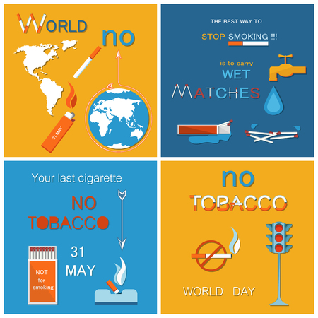 No tobacco day posters set. Best way to stop harmful habit is wet matches. Traffic light showing red color stop sign, prohibited crossed cigarettes vector