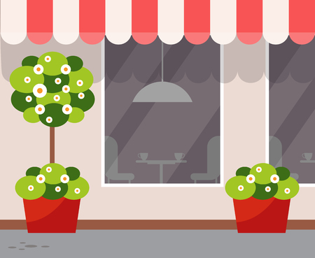 Exterior of eatery, coffeehouse design vector. Outdoor view on restaurant with plants growing in pots, blooming trees with trunk and bushes, coffee store Illustration