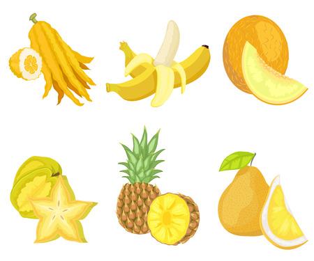 Exotische üppige Früchte des gelben Farbvektors, Satz isolierter Banane und Zitrone, Melone und Ananas mit Laub, Birne und Karambole in Form von Sternen
