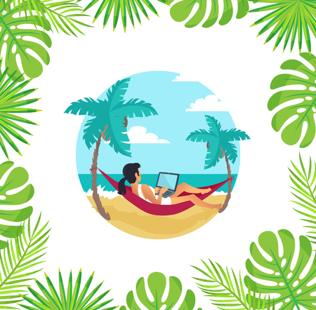 Freelancer laying in hammock vector. Woman holding laptop working by seaside, palm trees with leaves, foliage of monstera. Online wireless connection Ilustrace