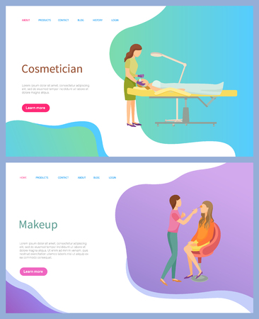 Cosmetician and makeup screen of website, spa procedures with face of client lying on table. Master holding brush and making eyebrows for woman vector
