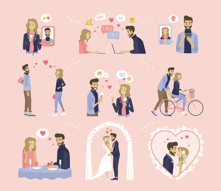 Couple relationship, dating and wedding vector. Online messaging, bouquet and ice cream, bicycle riding and proposal in restaurant, marriage ceremony Illustration