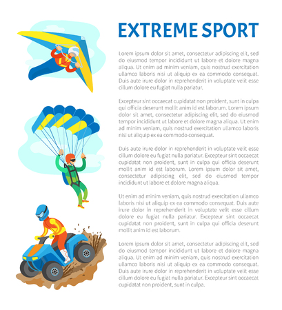 Extreme sports vector, people leading active lifestyle quad biking and skydiving poster with text sample. Adrenaline gaining, hobbies of men at sky Illustration