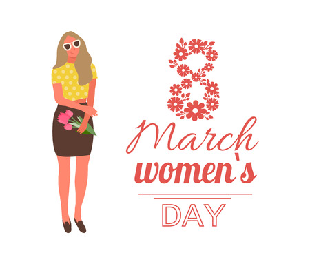 Girl holding pink tulips vector, 8 march celebration of womens day international holiday. Special gift on occasion, stylish lady wearing glasses