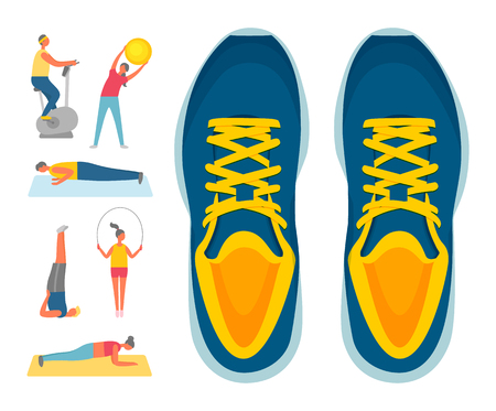 Sport and exercise, sport footwear or sneakers and fitness vector. Exercise bike and bending over with ball, push-ups and aerobics, plank and jumping rope Stock Illustratie