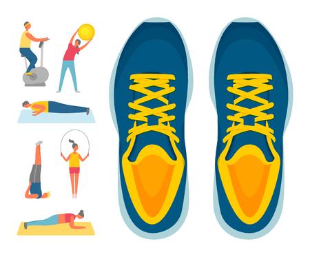 Sport und Bewegung, Sportschuhe oder Turnschuhe und Fitnessvektor. Heimtrainer und Bücken mit Ball, Liegestütze und Aerobic, Plank und Springseil