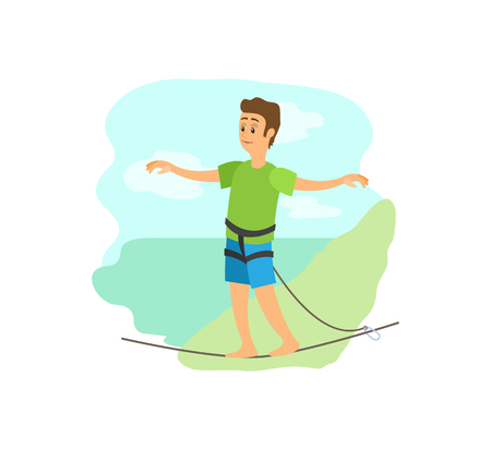 Highlining extreme sport poster, man in casual clothes going by rope, portrait view of smiling person balancing on line with insurance, mountain vector