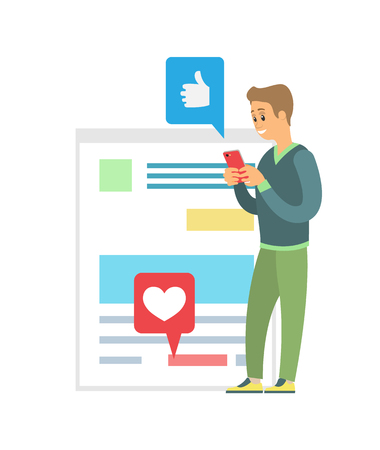 Blogger using phone vector, social media communication. Person with smartphone checking likes, thumbs up and hearts. Posting and reading news feed