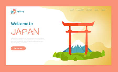 Welcome to Japan vector, mountain Fuji and Torii Gate, tourist destination in Asia country. Landmarks and nature landscapes with grass greenery. Website or webpage template, landing page flat style Illusztráció