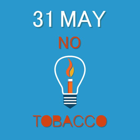 World no tobacco day 31th May poster. Burning fire in electric lamp, stop harmful habit concept. Refuse from nicotine addiction vector illustration