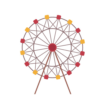 Amusement park vector, isolated icon of ferris wheel construction, rounded shape of attraction for kids and adults. Roundabout, carousel spinning 矢量图片