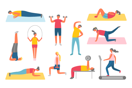 Girl and boy in sportwear pumping muscles with dumbbell, doing fitness with sport items, stretching on mat. Human lose weight, healthy activity vector