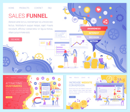 Sales funnel vector set, attracting customers. Awareness and interest, decision and action plan, web conversion. Money and coins, business trade. Website or webpage template, landing page flat style Stock Illustratie