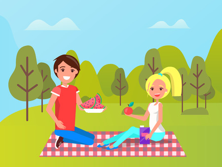 Man and woman sitting on mat with fruit watermelon and apple, juice in box. Smiling people in sportwear relaxing near green trees, healthy food vector Foto de archivo - 120092554
